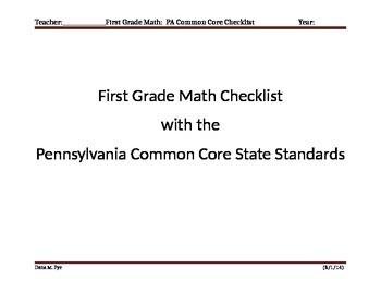 First Grade Math Pennsylvania Common Core State Standards