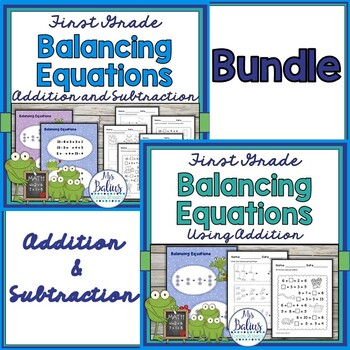 First Grade Math Spring {Frog} Balancing Equations Bundle