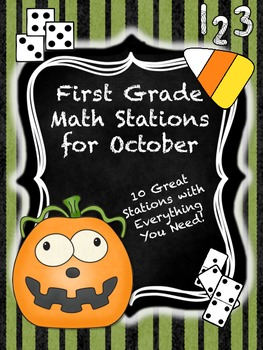 First Grade Math Stations for October with BONUS October C