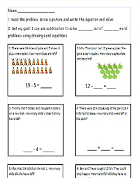 First Grade Math Worksheet Using CC I can statements For 1.OA.1