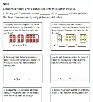 First Grade Math Worksheet Using CC I can statements For 1.OA.2