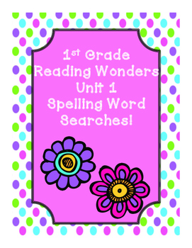 First Grade McGraw Hill Reading Wonders Unit 1 Spelling Wo