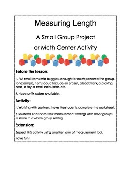 First Grade Measurement Group Project or Center