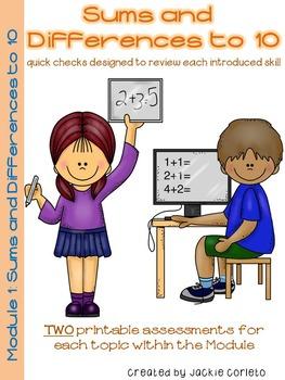First Grade Math Module 1 Quick Checks