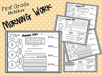 First Grade Morning Work- October