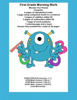 First Grade Morning Work Printables-Fun Monster Theme-Cove