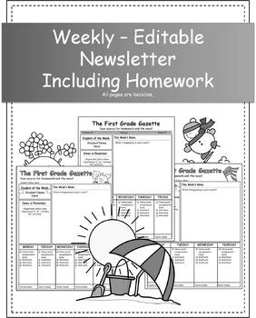 First Grade Newsletter - Editable