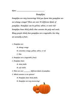First Grade Nonfiction Cold Read- Pumpkins -CCSS aligned