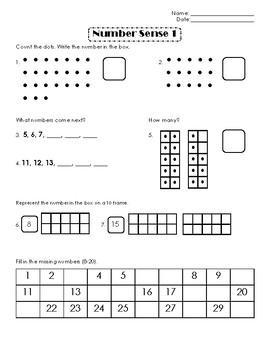 First Grade Number Sense Week 1