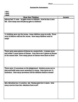 First Grade O.A. Math Assessment (editable and Common Core