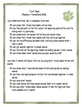 First Grade Ohio I Can Statements Checklist