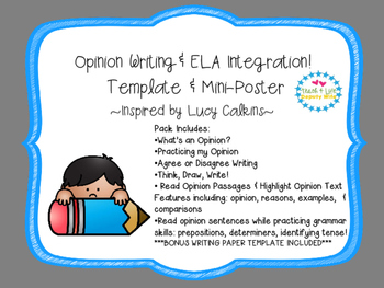 Opinion Writing 1st-3rd (Lucy Calkins inspired) fluency &