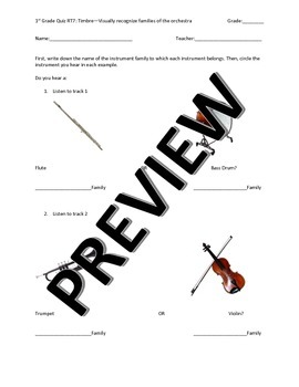 First Grade Orchestra Instrument Families Quiz