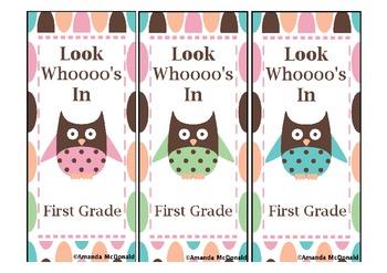 First Grade Owl Bookmark