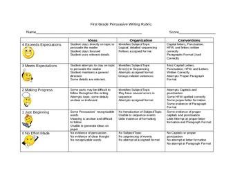 First Grade Persuasive Rubric