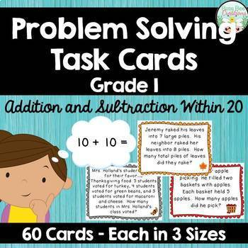 Basic Facts Problem Solving Task Cards - Addition and Subt