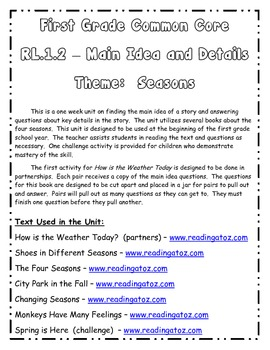 First Grade RI.1.2 Main Idea and Details