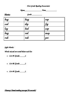First Grade Reading Assessment Phonics, Sight Words, Compr