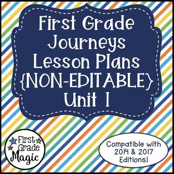 Journeys Lesson Plans First Grade Unit 1