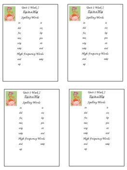 First Grade Reading Street Spelling Packet Unit 1 Week 2 P