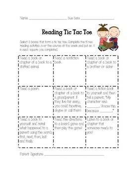 First Grade Reading Tic Tac Toe