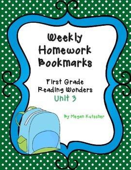First Grade Reading Wonders Unit 3 Homework Bookmarks