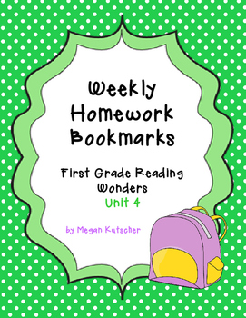 First Grade Reading Wonders Unit 4 Homework Bookmarks