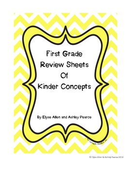 First Grade Review Sheets of Kindergarten Concepts