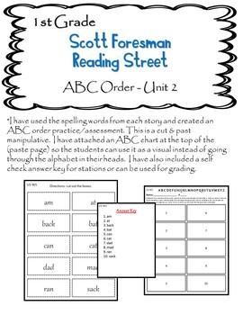 Scott Foresman Reading Street 1st Grade U-2 ABC Order with
