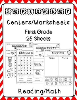 First Grade. September Worksheets/Centers. Back to School.