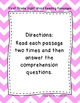 First Grade Sight Word Fluency Passages with Comprehension