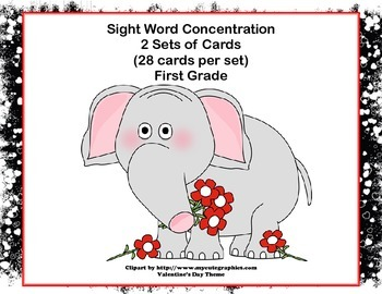 First Grade Sight Word Printable Concentration Game-Valent