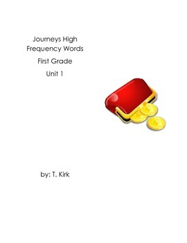 First Grade Sight Word Tokens Journeys Unit 1