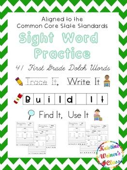 First Grade Sight Word Work {Trace It, Write It, Build It,