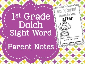 First Grade Sight Words Parent Notes