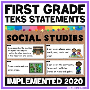 First Grade Social Studies TEKS - Can and Will Standards S