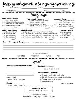 First Grade Speech/Language Screening