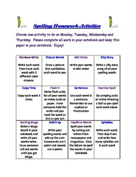 Spelling Homework Activity Chart