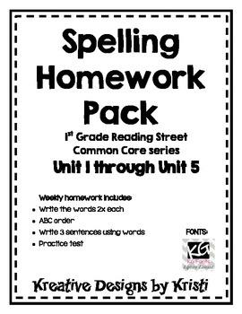 First Grade Spelling Homework Pack