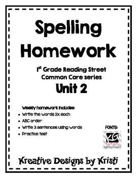 First Grade Spelling Homework Unit 2