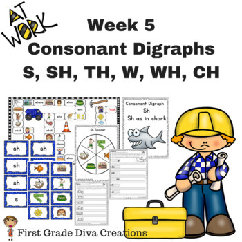 First Grade Spelling Week 5~Common Consonant Digraph Print