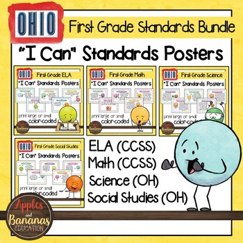 "Ohio Standards for First Grade - All Subjects ""I Can"" Post"