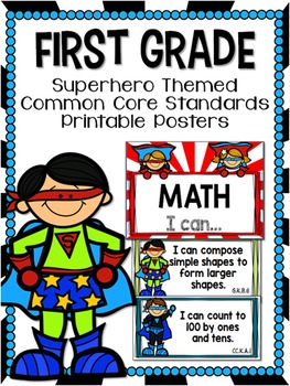 First Grade Superhero-Themed Common Core Standard Printabl