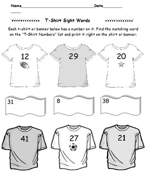 First Grade Sight Words T Shirts and Banners