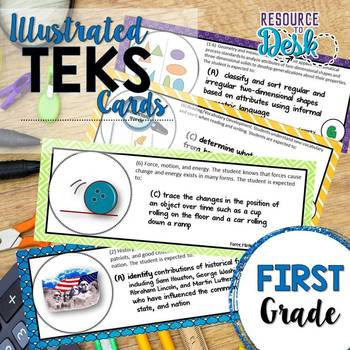 First Grade TEKS- Illustrated and Organized Objectives Cards