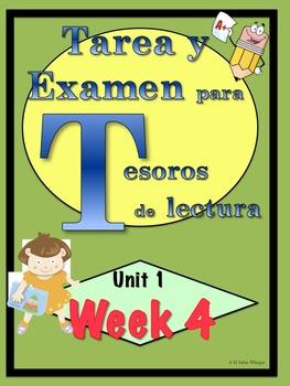 First Grade Tesoros de lectura Homework Package Unidad 1 Semana 4