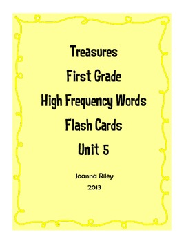 First Grade Treasures High Frequency Words Flash Cards Unit 5