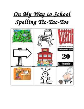 First Grade Treasures Unit 3, Week 1, Spelling Tic-Tac-Toe Center
