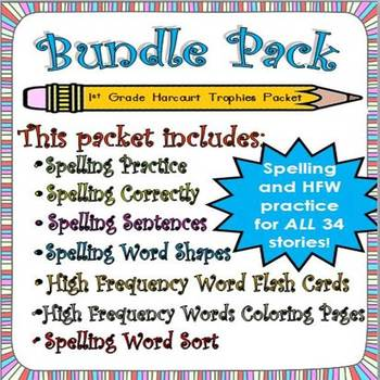 Bundle Pack: First Grade Spelling and Sight Words-34 Packets!