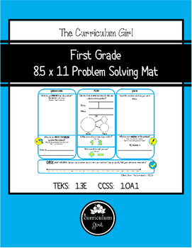 First Grade UPS-Check Problem Solving Mat (TEKS 1.3E, CCSS